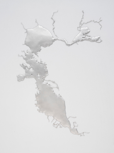 Maya Lin's poured silver work of the San Francisco Bay, on view at The Brower Center Sept 19th 2014 - February 4th 2015. Image courtesy of The Brower Center.