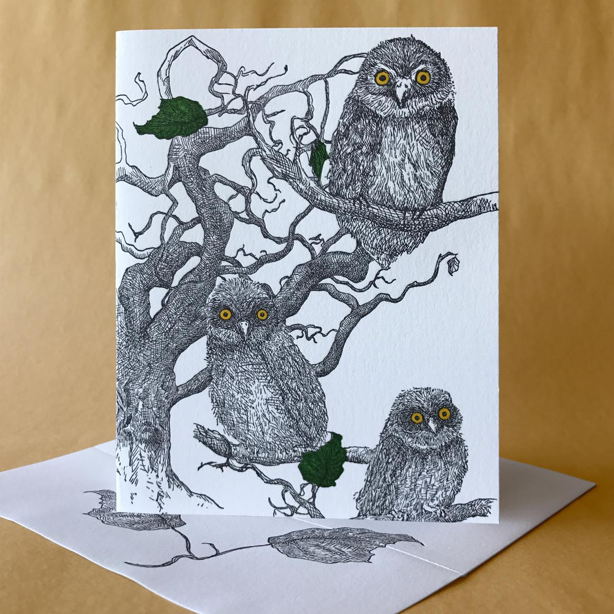 Hazelnut Note Card with Owls